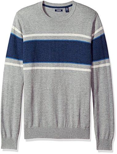 IZOD Men's Fine Gauge Crew Sweater, Light Gray Heather, X-Large