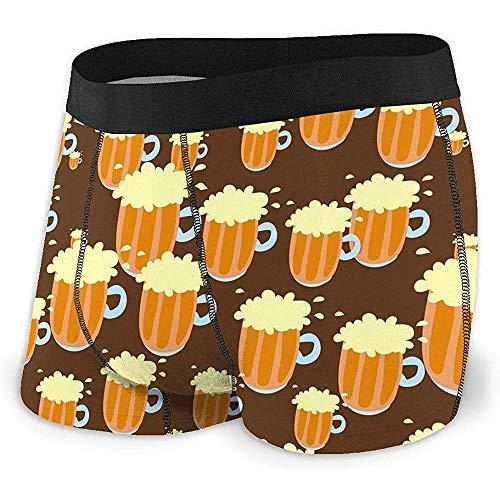 Der Boxer-Schriftsatz-Unterwäsche der gelben Bier-Männer für Männer Polyester Spandex trocknen schnell Größe L