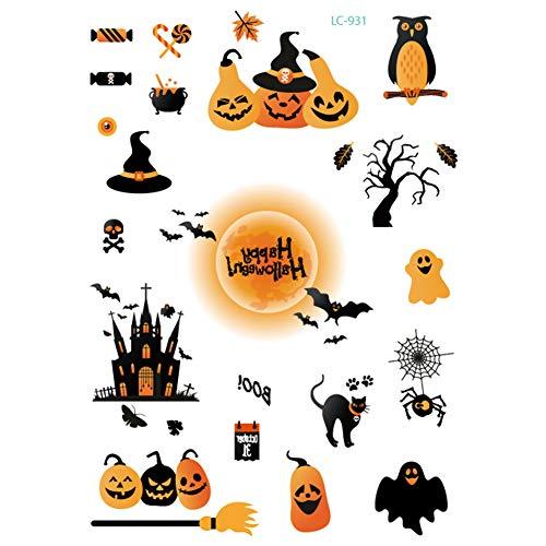 Halloween Tijdelijke Tattoos - Zombie Littekens, Valse Bloed Realistische Volledige Gezicht Tattoo Masker Cosplay Sticker Make-up Props 21 * 15cm 01#