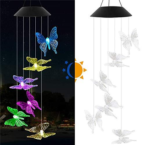 housesweet Solarbetriebene Windspiel Bunte Lichter für Outdoor-Garten Fenster Dekor Sonnenblume Biene Schmetterling