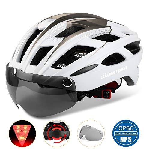 Shinmax 069式自転車ヘルメット, LEDライト付きサイクルヘルメット 安全ライト付き自転車ヘルメット ゴーグル超軽量高剛性自転車ヘルメット ロードバイクヘルメット アダルト自転車ヘルメット 取り外し可能なシールドサンバイザー付き 57-62cm男女兼用