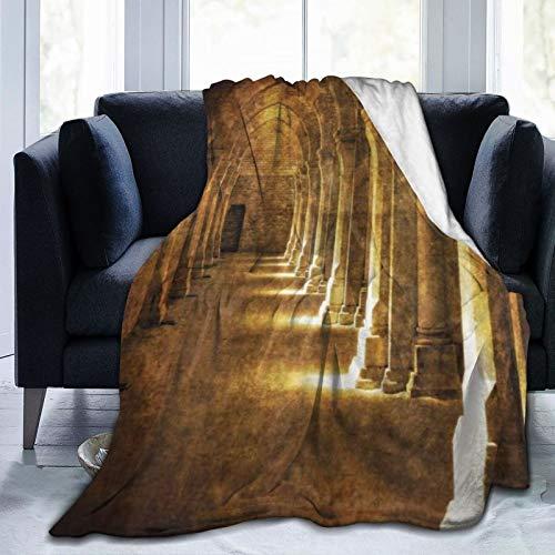 TARTINY Arco gótico en Oscuro Edificio Antiguo Arquitectura histórica fotografía Imagen Queen (200x200cm) Manta de Franela Ligera y cálida Suave y cálida para Cama o sofá
