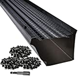 LeafTek 5' x 32' Gutter Guard Leaf Protection in Black | DIY Premium Contractor Grade 35 Year Aluminum Covers | 32'/100'/200' Available in 5 or 6 Inch