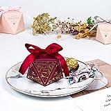Vin Rouge Doré Diamant Lettre Mariage Bonbon Boîte Fête D'Anniversaire Avec Main Boîte Cadeau 7 * 8 * 10Cm * 20Pcs (Avec Ruban)