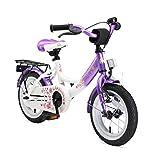 BIKESTAR Premium Sicherheits Kinderfahrrad 12 Zoll für Mädchen ab 3-4 Jahre | 12er Kinderrad Classic | Fahrrad für Kinder Lila & Weiß