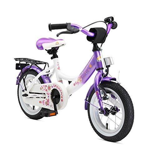 BIKESTAR Vélo Enfant pour Garcons et Filles de 3-4 Ans | Bicyclette Enfant 12 Pouces Classique avec Freins | Lilas & Blanc
