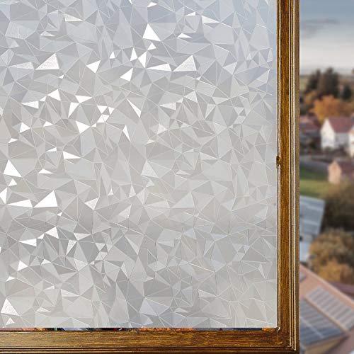 Housolution Refraction Fensterfolien, No-Kleber statische Dekor Privatsphäre PVC Fensterfolien nicht-klebende Mattglas Aufkleber Heat Control Anti-UV-Schutzhülle, Glasscherben (79 x 18 IN)