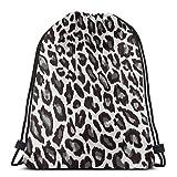 TURFED Leopard Animal Print 3D Print Mochila con cordón Mochila Bolsos de Hombro Bolsa de Gimnasio para Adultos