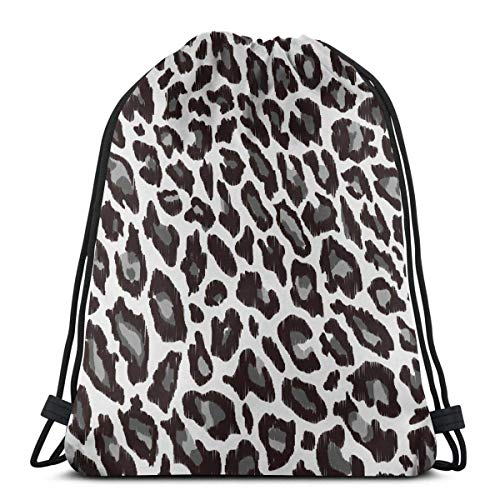 Green Haoke Leopard Animal Print Drawstring Bag Mochila Gym Dance Bag