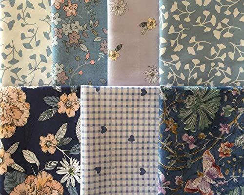 Bonito tejido de algodón para principiantes, paquete de tela con 7 piezas, fantástico diseño de flores, lunares, rayas, cuadros, etc.