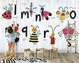 Papel pintado dormitorio vintage infantil 3D Abeja de dibujos animados alfabeto niños habitación habitación fondo pared decoración del hogar mural papel tapiz