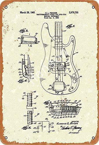 TSHOME Dibujos de patentes guitarra eléctrica metal estaño signos retro vintage de...