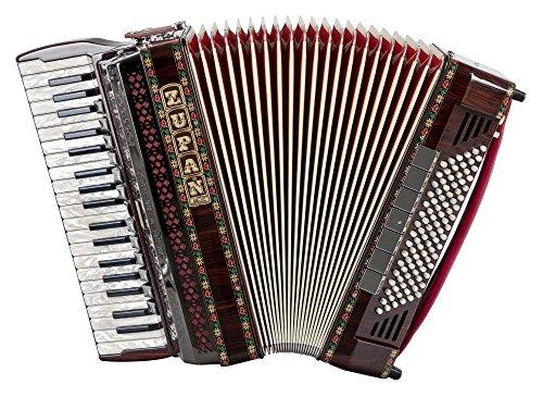 Zupan Alpe V 96 EF/MHR Akkordeon (38 Diskanttasten, 5-chörig, 12+1 Register, 96 Bassknöpfe, Entkopplungsschalter für Bassoberstimmen, Doppeltremolo (Mussette), inkl. Riemen und Koffer) Palisander