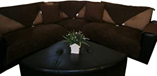 OctoRose Quilted Micro Suede Customised Sectional Chaise Lounge Chair Sofa Slipcover Pad Furniture Protector Sold by Piece Rather Than Set (Brown, 35x70)