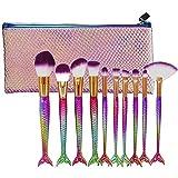 MEIMEIDA Makeup Brush Set Fish Tail Foundation Powder Eyeshadow Make Up Brushes Contour Blending Cosmetic Brushes With Case, A