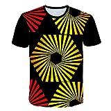 LXZWAN Cómoda Camiseta Creativa de Manga Corta, Frescos de Moda Unisex de Manga Corta de Camisas Gráficos 3D de Creative Impreso Hexagonal Espiral Manera de La Personalidad Camisetas