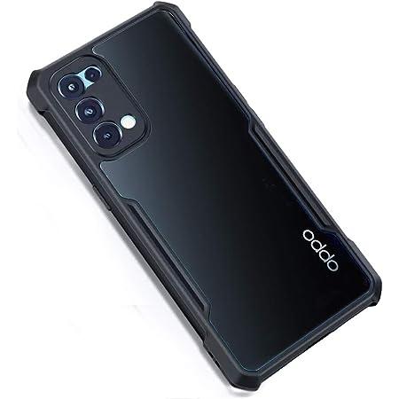 MOBIKIT Back Cover for Oppo Reno 5 Pro 5G Four Corner Hybrid Clear Gel TPU Bumper Back Cover Case (Black, Transparent)