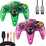 ZeroStory Classic N64 Controller, Wired N64 Controller Joystick with 5.9 Ft N64 AV Cable for N64 Video Game Console (Transparent Green and Transparent Purple)