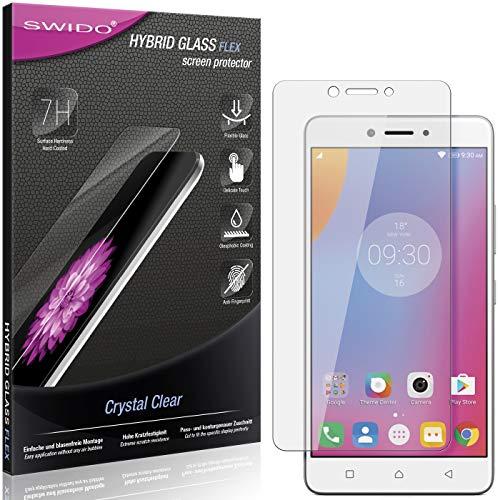 SWIDO Panzerglas Schutzfolie kompatibel mit Lenovo K6 Note Bildschirmschutz-Folie & Glas = biegsames HYBRIDGLAS, splitterfrei, Anti-Fingerprint KLAR - HD-Clear