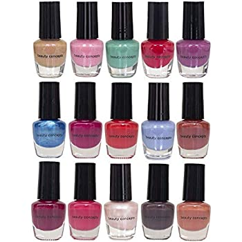 Beauty Concepts Nail Polish Set - Set of 15 Mini Cool Nail Polish Colors, Quick Dry Nail Polish