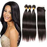 Brazilian Straight Hair Bundles With Lace Closure 3 Bundles Human Hair Weaves And Closure 4x4 Free Part With Baby Hair On Sale Natural Black Wholesale Bundles Human Hair Extension 12 14 16 + 10 Inch