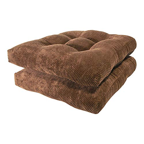 Arlee - Delano Chair Pad Seat Cushion, Memory Foam, Non-Skid Backing, Durable Fabric, Superior Comfort and Softness, Reduces Pressure and Contours to Body, Washable, 16 x 16 Inches (Brown, Set of 2)