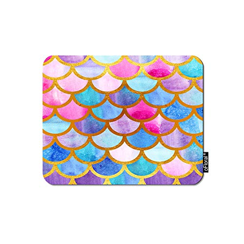 oFloral Mermaid Scales Gaming Mouse Pad Bright Fish Scales Half Circle Geometric Animal Skin Decorative Mousepad Rubber Base Home Decor for Computers Laptop Office Home 7.9X9.5 Inch
