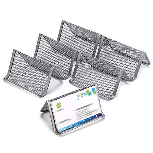 BTSKY Paquete de 6 soportes de malla para tarjetas de visita, organizador de tarjetas de nombre de metal para escritorio y escritorio, color plata
