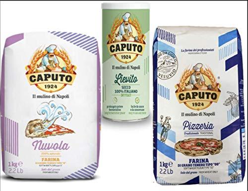 Caputo Farina Nuvola 5Kg + 5Kg Pizzeria in 10 Pacchi da 1 Kg + Lievito Secco 100 G