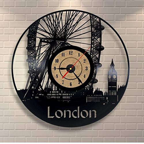 DingSheng Roll Time Clock London DIY Vinyl Record Clock Interior Design Home Decor for Music Lovers