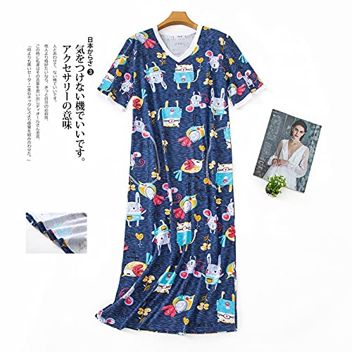 Astemdhj Camisón Sexy Pijamas Lindo Vestido De Dormir para Mujer Camisas Largas Ropa De Dormir De Verano De Talla Grande Camisones Dulces De Manga Corta para Mujer Camisón Largo L65-75Kg AZ 🔥