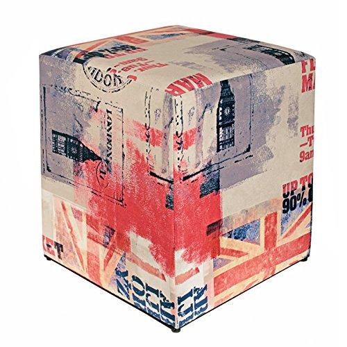 Kaikoon Pouf Cube Imprimé Drapeau Go Clair 35 cm x 35 cm x 42 cm