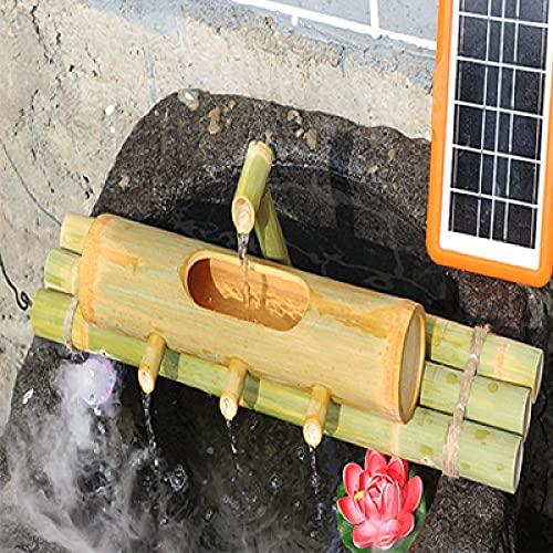 WBJLG Características del Agua para el jardín Energía Solar, Tubo de bambú Filtro de Agua Filtro de Cultivo de Peces Circulación de Agua Solar Tanque de Peces Adornos de bambú, Adornos de 80 cm