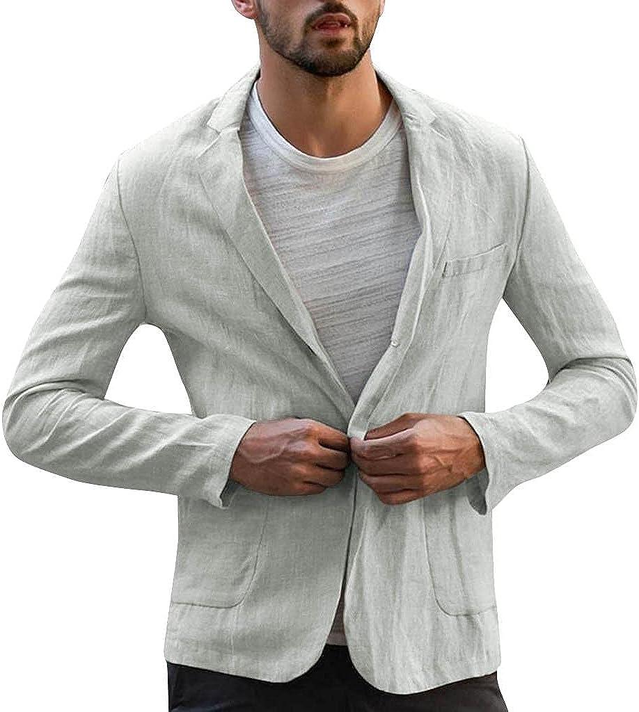 LEIYAN Mens Casual Linen Blazer Long Sleeve Slim Fit Lightweight Tailored One Button Work Dress Shirts Outwear