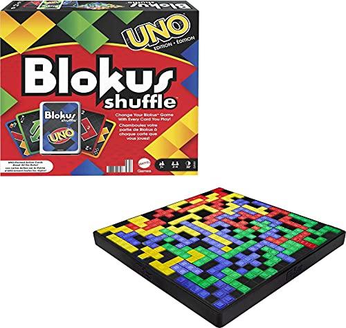 Mattel Games - Juego de Mesa UNO Blokus Shuffle Inspirada en Juego de Cartas, Juguete para niños +7 años (Mattel GXV91)