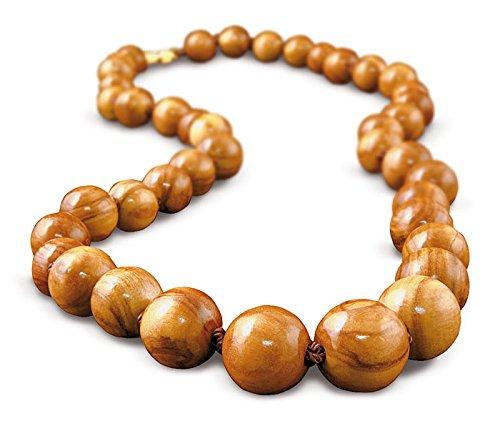 Arte Legno - Hals-Kette Collier aus Oliven-Holz (Dicke Perlen, einreihig, mit Verschluss)