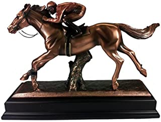Marian Imports F54037 Jockey On Horse Bronze Plated Resin Sculpture - 16 x 5 x 12 in.