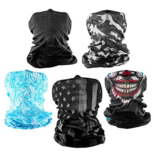 S A - UV Face Shield 5 Pack Multipurpose Neck Gaiter, Balaclava, Elastic Face Mask for Men and Women