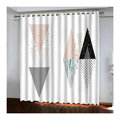 HIUYOO Vorhänge Wohnzimmer Lang Dreieck Vorhang Blickdicht Vintage Vorhänge für Kinderzimmer 274X183CM Weiß