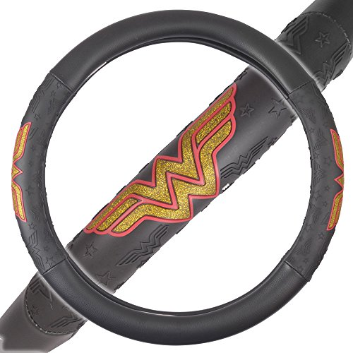 BDK DC Comics Wonder Woman Steering Wheel Cover - W Symbol on Synthetic Leather (WBSW-1901)