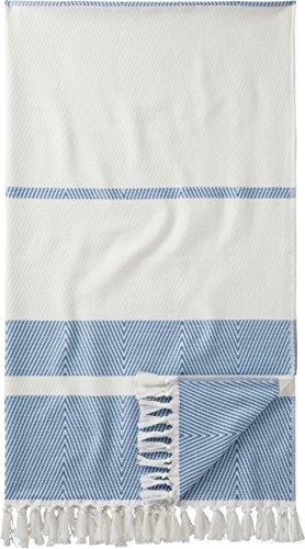 Egeria Saunatuch Pestemal l Weiß Blau l Wellness-Handtuch 100x180cm l Hamam