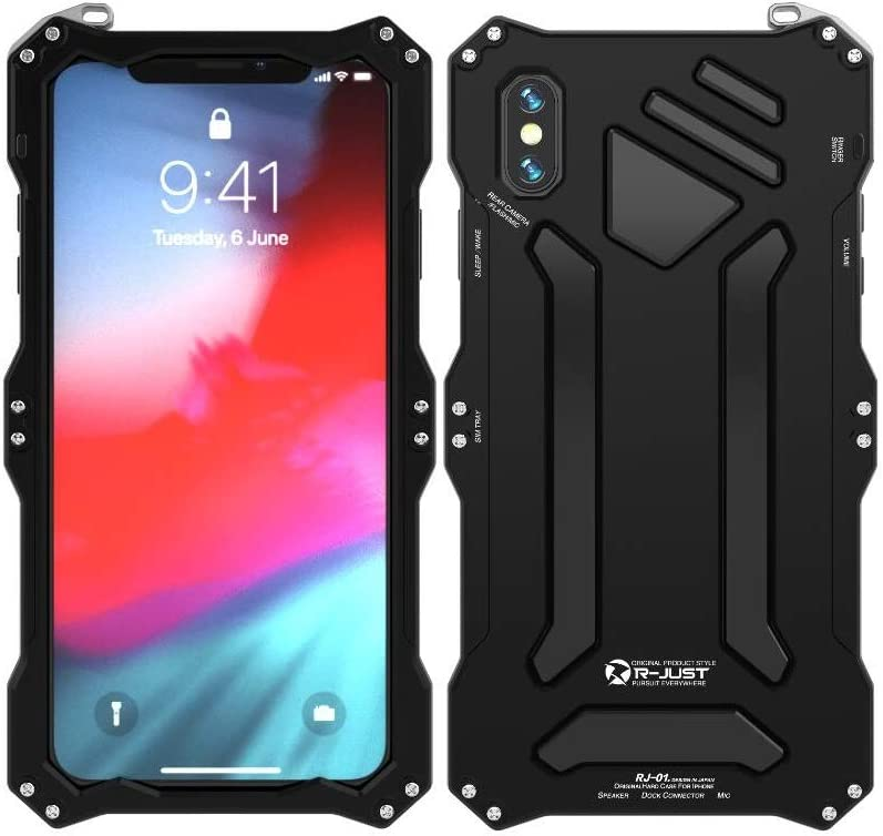 iPhone Xs Max Case,Bpowe Gorilla Glass Aluminum Metal Premium Protection Shockproof Military Bumper Heavy Duty Sturdy Protective Cover Shell Case for Apple iPhone Xs Max 6.5inch 2018 (Black)