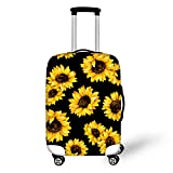 BIGCARJOB Travel Dust-proof Suitcase Cover Sunflower Print Clear Luggage Cover Protector Tsa Approved for 22-24inch