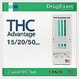 1 Pack - DrugExam THC Advantage Made in USA Multi Level Marijuana Home Urine Test. Highly Sensitive Marijuana THC 3...