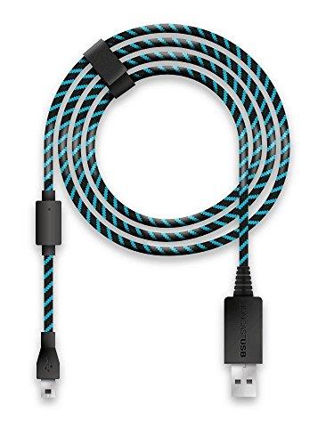 Lioncast Cable de Carga para Controladores Xbox One y PS4 con Forro de Tela y Organizador de Correa para Cable, MicroUSB 2.0; 1 x 4 Metros - Azul y Negro