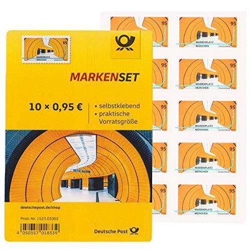 100 Stück 0,95 EUR postfrische Selbstklebende Briefmarken (Marienplatz München) Frankaturware