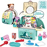 MAGIC4U Pet Cat Carrier Backpack Toy, 23PCS Pet Care Playset,Vet Clinic and Doctor Kit for Kids, Pet Veterinarian Medical Role Play Set for Boys and Girls Ages 3-6