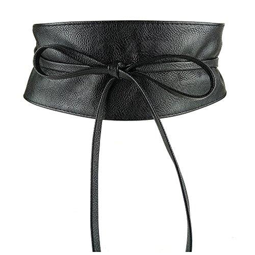 MYB Cintura fusciacca per donna in similpelle - modello obi - taglia unica - diversi colori disponibili (Nero)