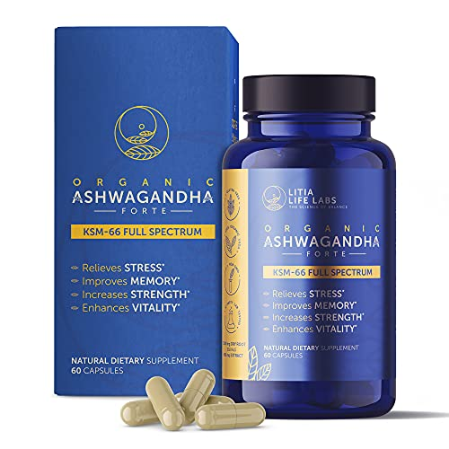 Organic Ashwagandha KSM 66 Highest Quality Herbs. Relieves STRESS, improves MEMORY, increases STRENGHT & enhances VITALITY. 7,200 mg/cap of Ashwagandha Organic Root & Black Pepper Extract. 60 Caps
