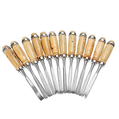 XUQIANG 12 unids Talla de Madera cincel Conjunto Acero al Carbono carpintería rodante Bolsa Herramientas manuales de carpintería de Bricolaje